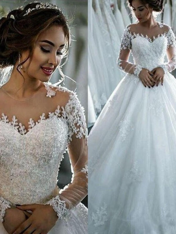 Ball Gown Tulle Scoop Court Train Long Sleeves Wedding Gowns