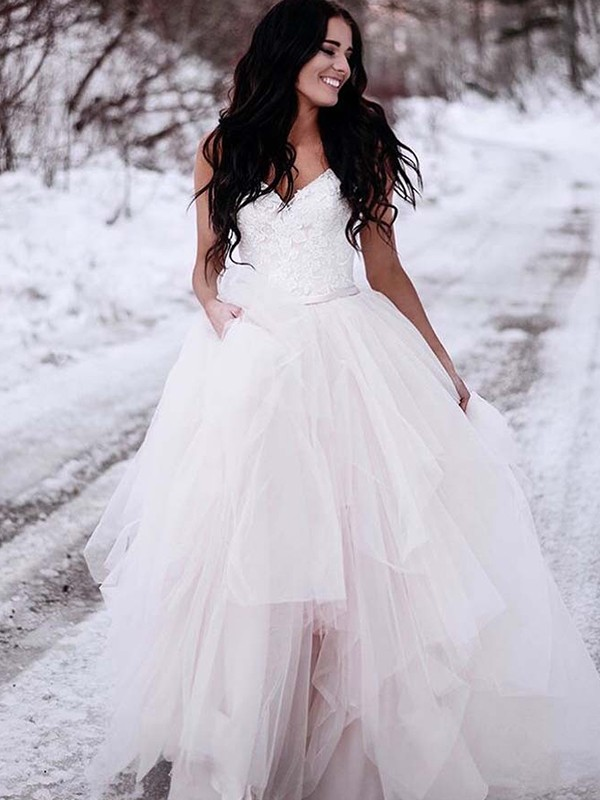 A-Line/Princess Tulle V-neck Sleeveless Floor-Length Wedding Dresses