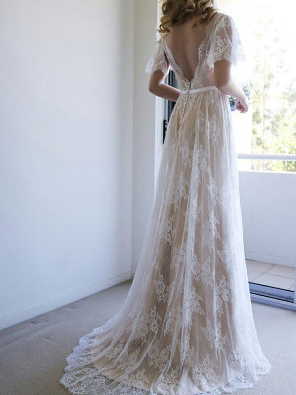 A-Line Lace V-neck Short Sleeves Sweep/Brush Train Wedding Dress