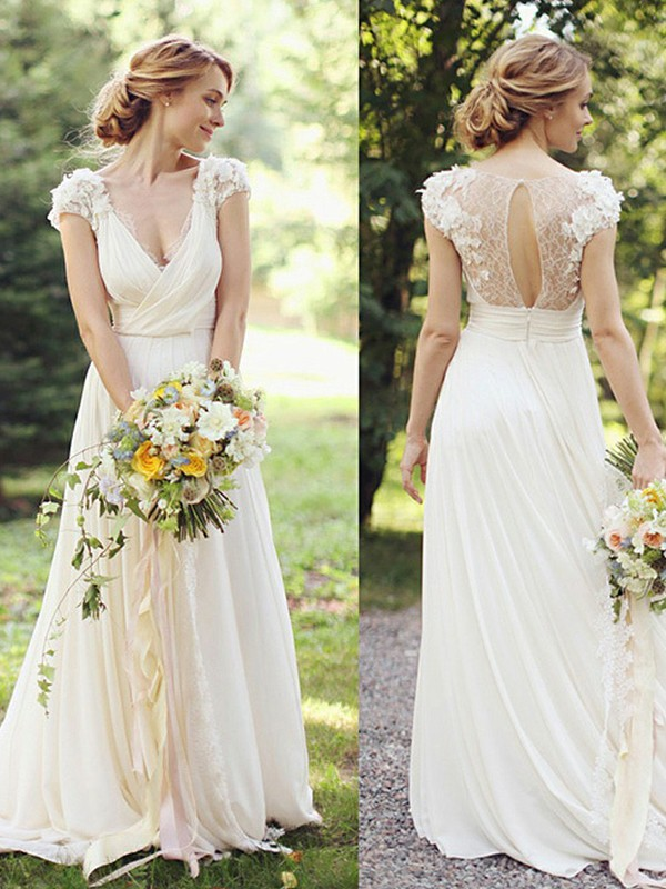 A-Line/Princess Chiffon V-neck Short Sleeves Sweep/Brush Train Wedding Dresses