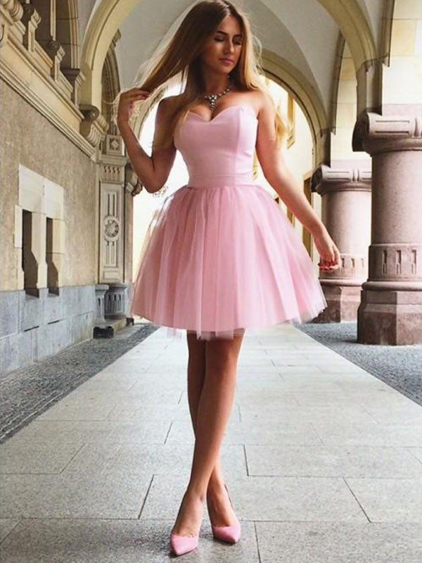 A-Line Sweetheart Sleeveless Satin Short Dress