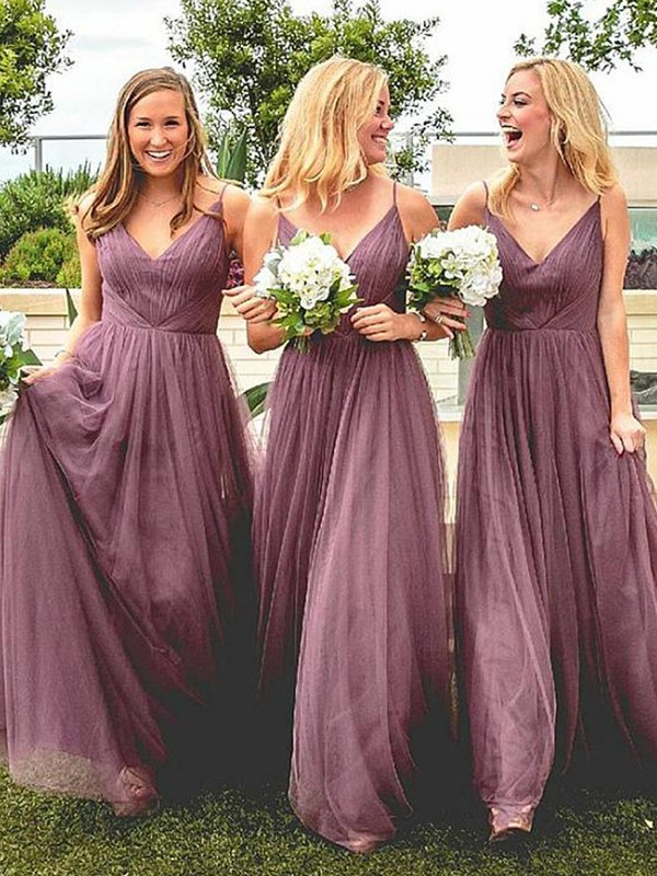A-Line Spaghetti Straps Sleeveless Floor-Length Tulle Bridesmaid Dresses