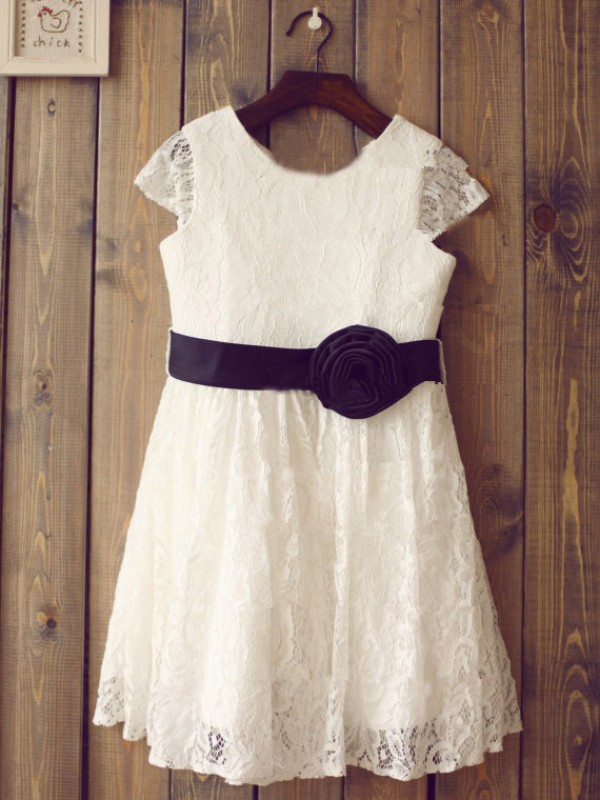 A-line Scoop Short Sleeves Tea-length Lace Flower Girl Dress