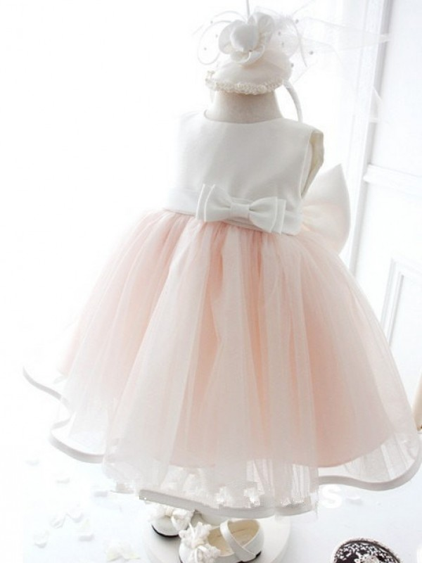 Ball Gown Jewel Tea-length Organza Flower Girl Dresses