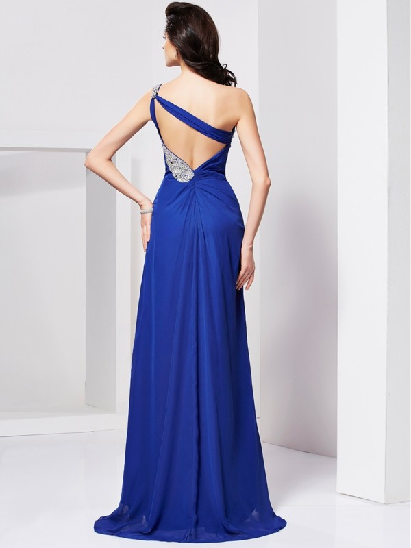 A-Line/Princess One-Shoulder Beading Sleeveless Pleats Long Chiffon Dresses