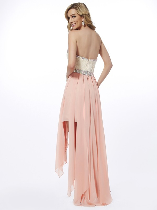 A-Line/Princess Sweetheart Sleeveless Beading High Low Chiffon Dresses