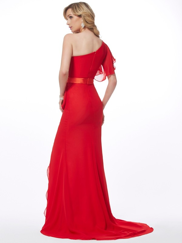 Trumpet/Mermaid One-Shoulder Sleeveless Hand-Made Flower Long Chiffon Dresses