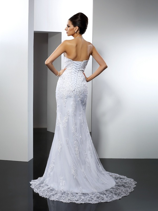 Trumpet/Mermaid Sweetheart Lace Sleeveless Long Satin Wedding Dresses