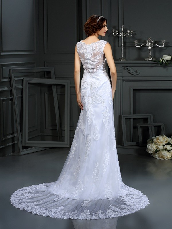 Sheath/Column High Neck Lace Sleeveless Long Lace Wedding Dresses