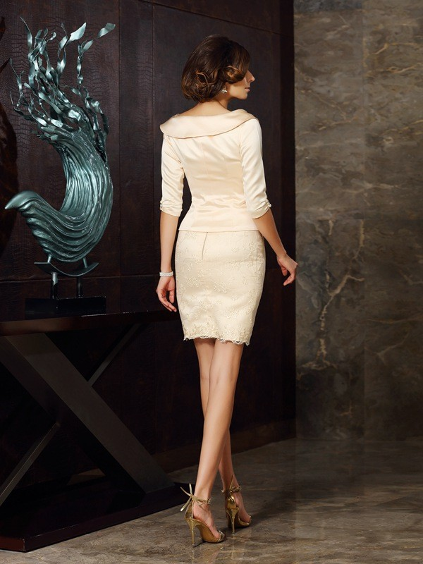 Sheath/Column Strapless Applique Sleeveless Short Satin Mother of the Bride Dresses
