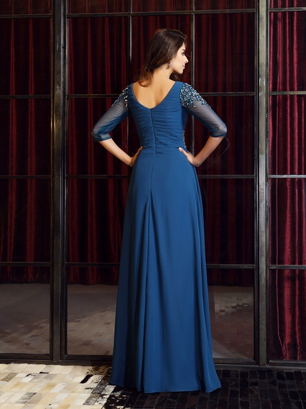 A-Line/Princess Square Ruched 1/2 Sleeves Long Chiffon Dresses
