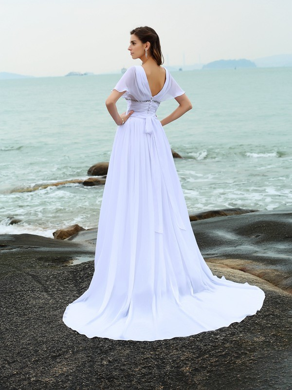 A-Line/Princess V-neck Ruffles Short Sleeves Long Chiffon Beach Wedding Dresses