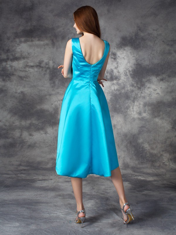 A-line/Princess Bateau Ruffles Sleeveless High Low Satin Bridesmaid Dresses