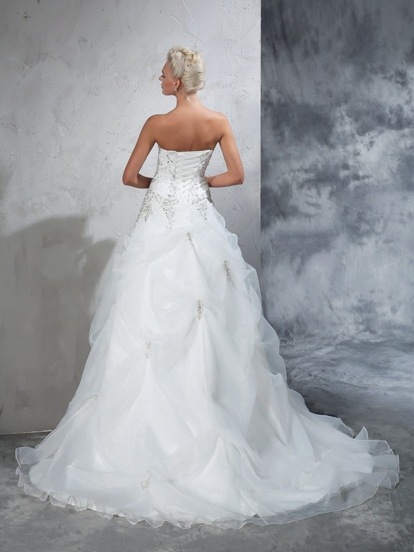 Ball Gown Strapless Beading Sleeveless Long Tulle Wedding Dresses