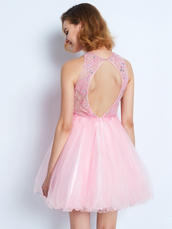 A-line/Princess Sleeveless Jewel Short/Mini Net Ruffles Dresses