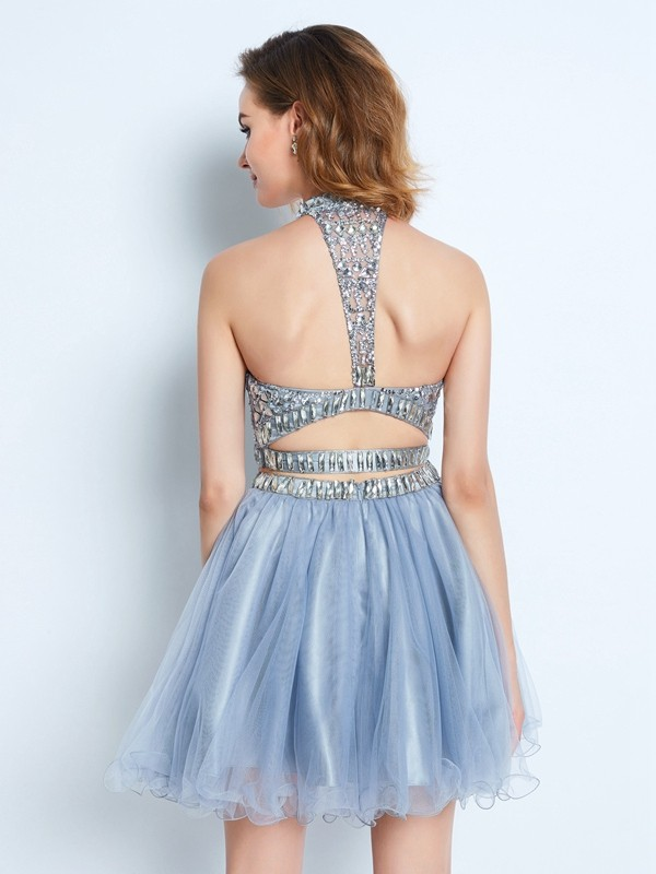 A-Line/Princess High Neck Sleeveless Beading Short/Mini Net Two Piece Dresses