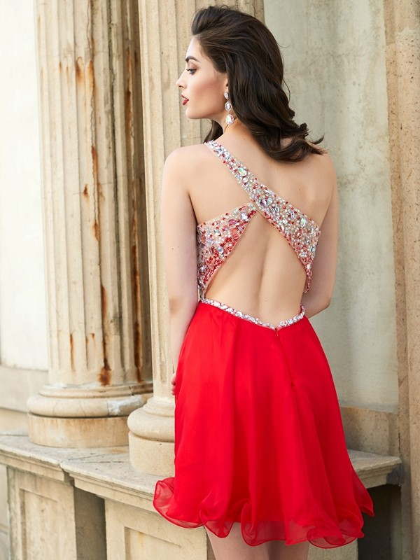 A-line/Princess One-Shoulder Beading Sleeveless Chiffon Short/Mini Dresses