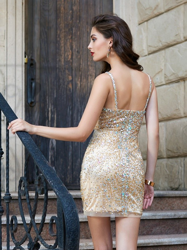 Sheath/Column Sleeveless Spaghetti Straps Net Sequin Short/Mini Dresses