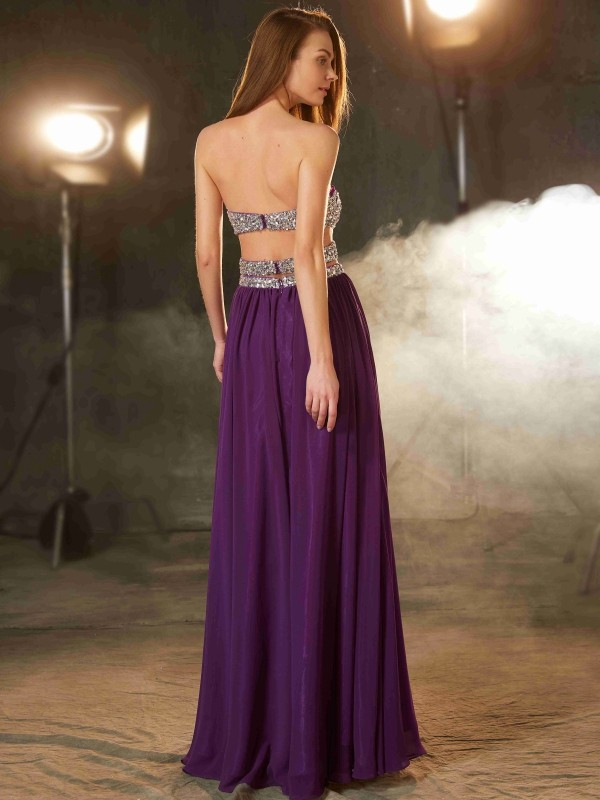 A-Line/Princess Sweetheart Crystal Sleeveless Floor-Length Chiffon Dresses