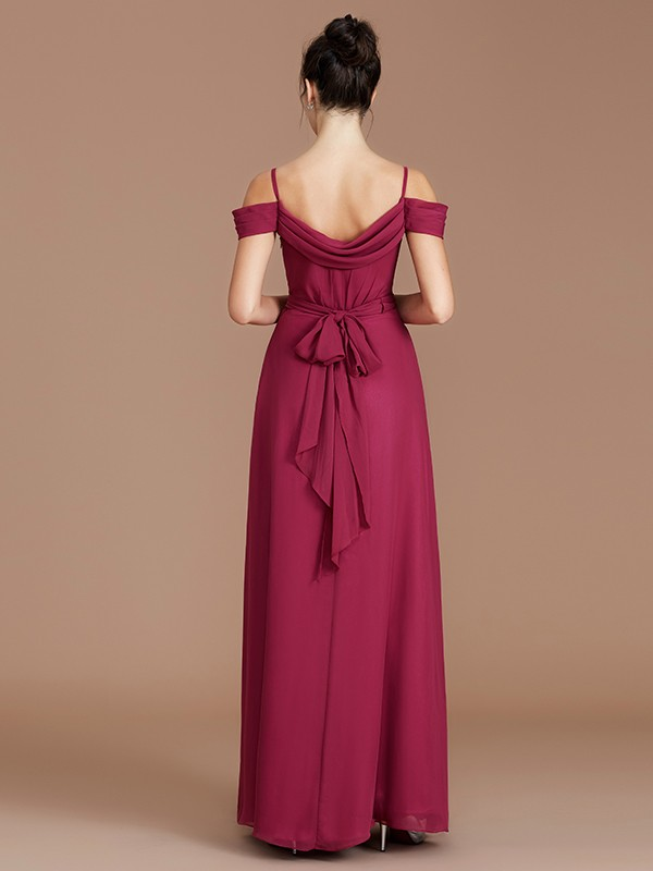 A-Line Off-the-Shoulder Sleeveless Ruched Floor-Length Chiffon Bridesmaid Dresses