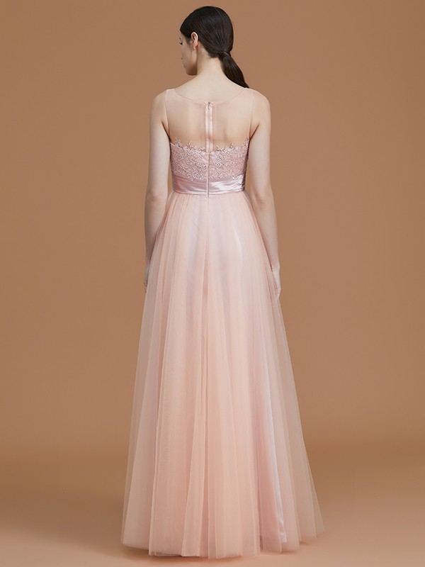 A-Line Bateau Sleeveless Floor-Length Tulle Bridesmaid Dress