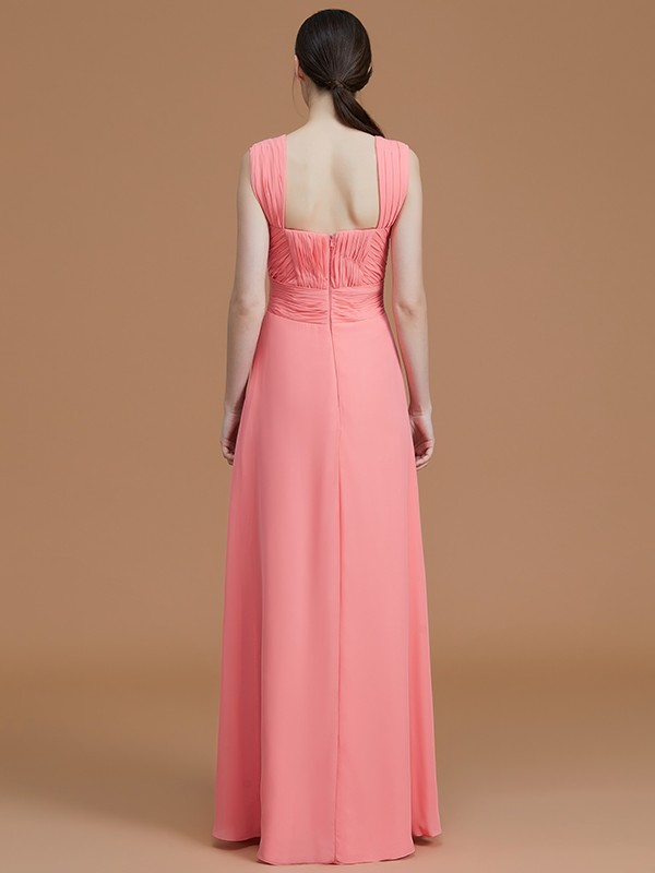 A-Line Sweetheart Sleeveless Floor-Length Chiffon Bridesmaid Dress