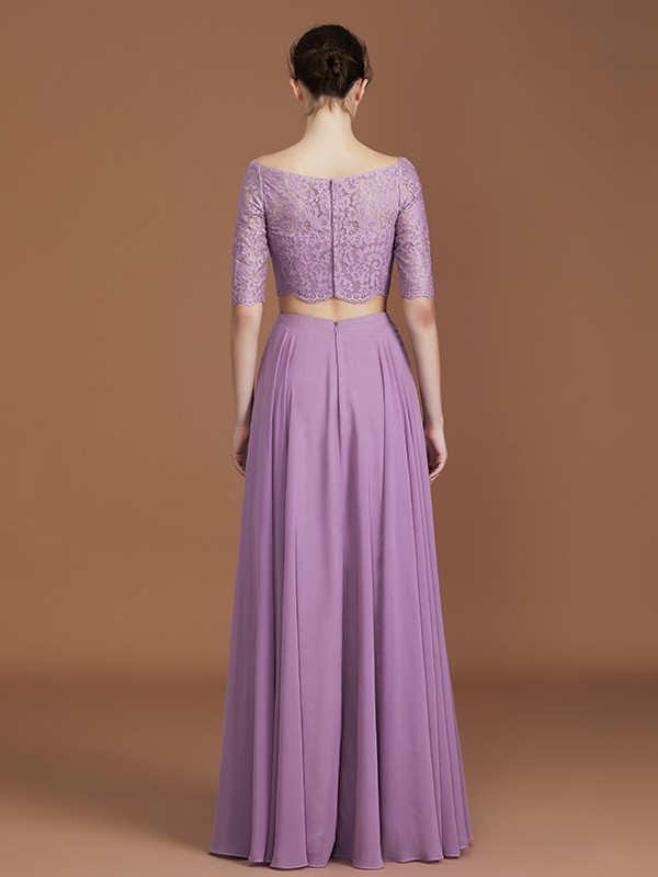 A-Line Off-the-Shoulder 1/2 Sleeves Floor-Length Chiffon Bridesmaid Dress