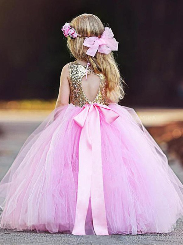 Ball Gown Sleeveless Scoop Floor-Length Sequin Tulle Flower Girl Dresses