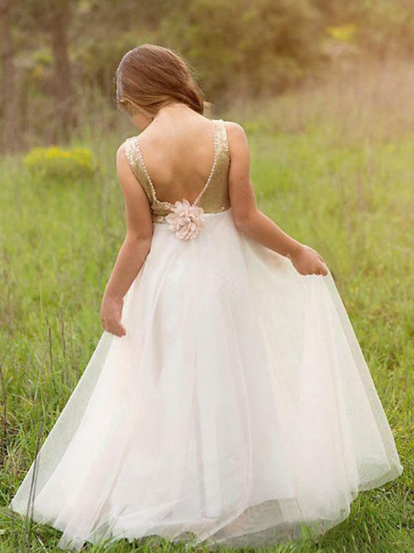 A-Line Sleeveless Scoop Floor-Length Sequin Tulle Flower Girl Dresses