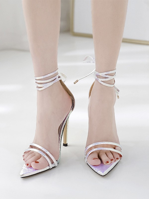 Women's Peep Toe Stiletto Heel PU Sandals With Lace Up