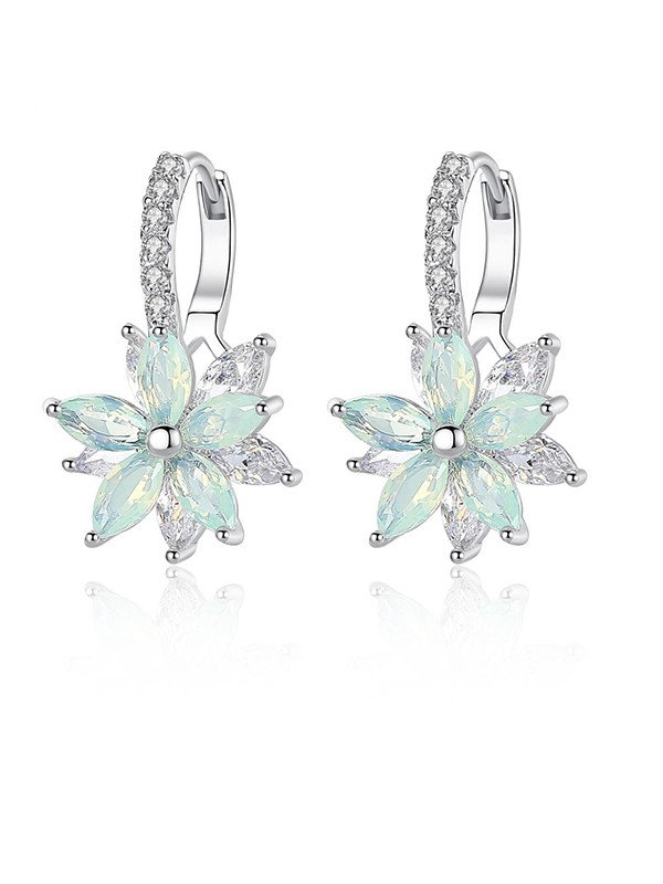 Fashion Women's Crystal Earrings With Flowers