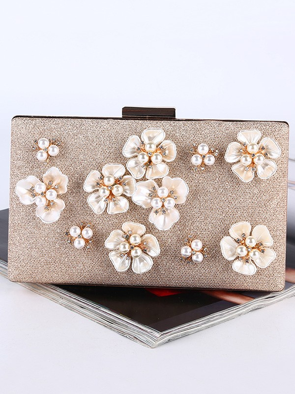 Stylish Flowers Pearl Handbags For Evening/Party