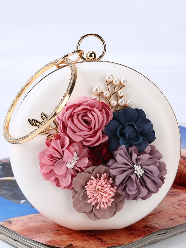 Beautiful Flowers PU Round Handbags For Evening/Party