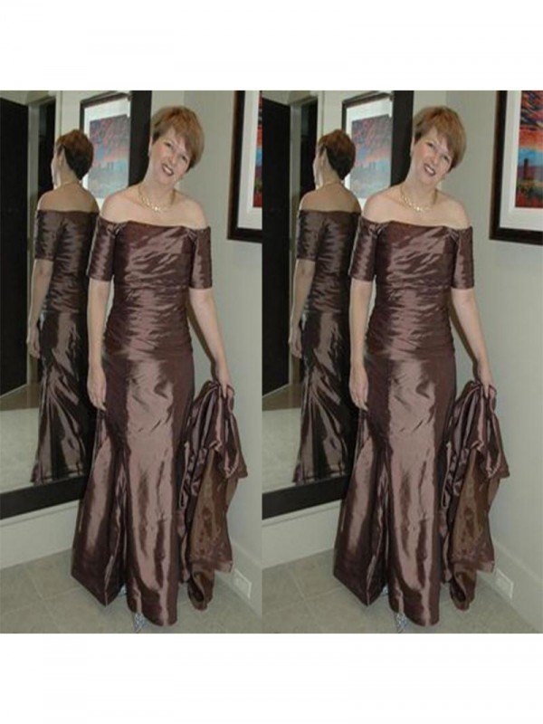 Sheath Off-the-Shoulder Short Sleeves Ruched Floor-Length Elastic Woven Satin Mother Of The Bride Dresses
