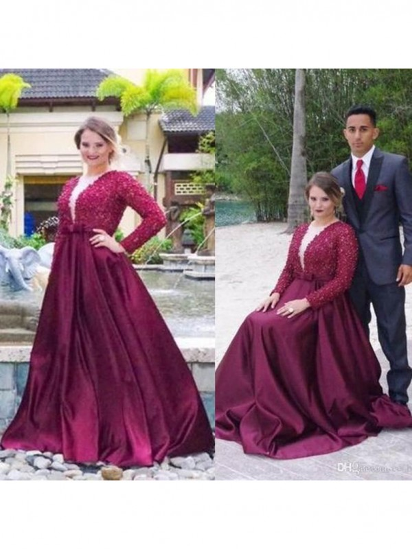 A-Line V-neck Long Sleeves Beading Sweep/Brush Train Satin Plus Size Dresses