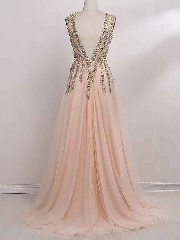 A-Line/Princess V-Neck Sleeveless Sweep/Brush Train Tulle Dresses With Beading