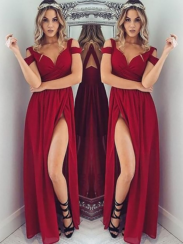 A-Line Off-the-Shoulder Sleeveless Floor-Length Ruched Chiffon Dresses