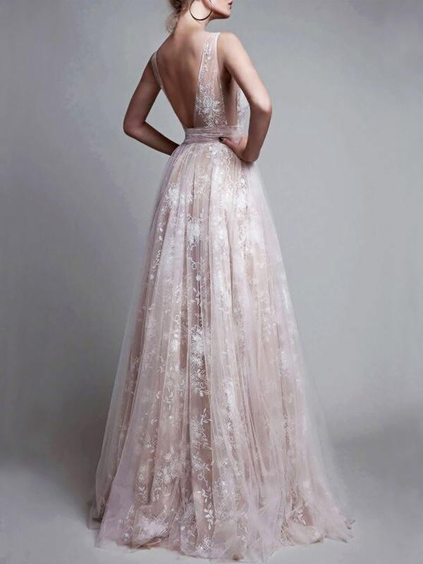 A-Line/Princess V-neck Floor-Length Tulle Sleeveless With Applique Dresses