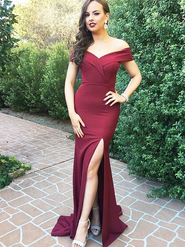 A-Line Off-the-Shoulder Sleeveless Floor-Length Satin Ruched Dresses