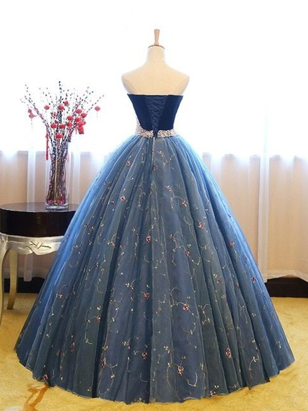 Ball Gown Sleeveless Sweetheart Floor-Length Beading Net Dresses