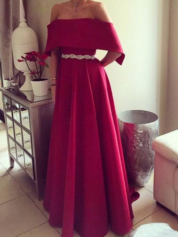A-Line Sleeveless Off-the-Shoulder Floor-Length Sash/Ribbon/Belt Satin Dresses