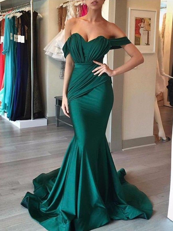 Trumpet/Mermaid Sleeveless Off-the-Shoulder Sweep/Brush Train With Ruffles Spandex Dresses