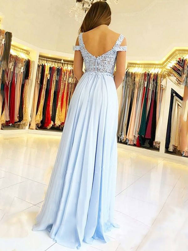 A-Line/Princess Sleeveless Off-the-Shoulder Floor-Length With Applique Chiffon Dresses