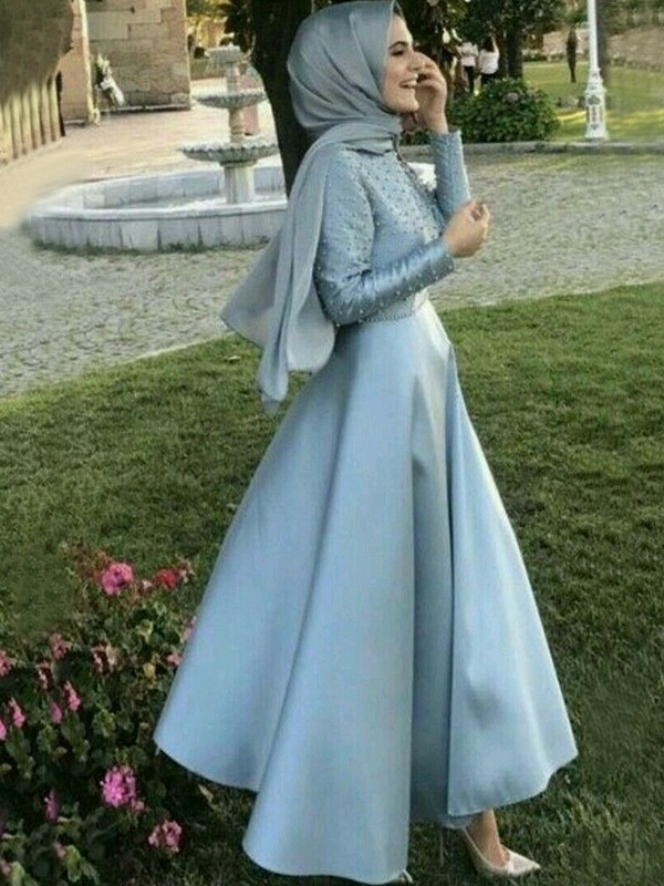 A-Line Long Sleeves Scoop Floor-Length Beading Satin Muslim Dresses
