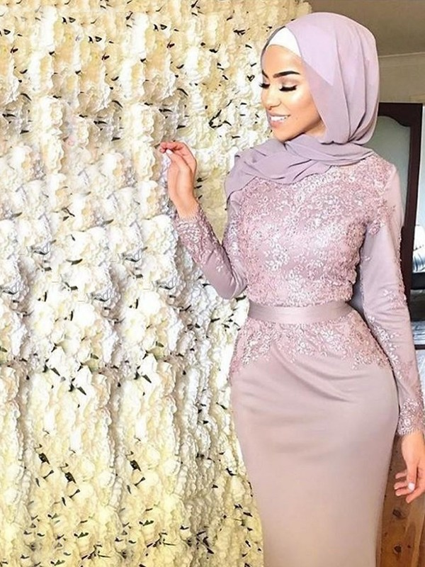 Mermaid Long Sleeves Scoop Sweep/Brush Train Applique Satin Muslim Dresses