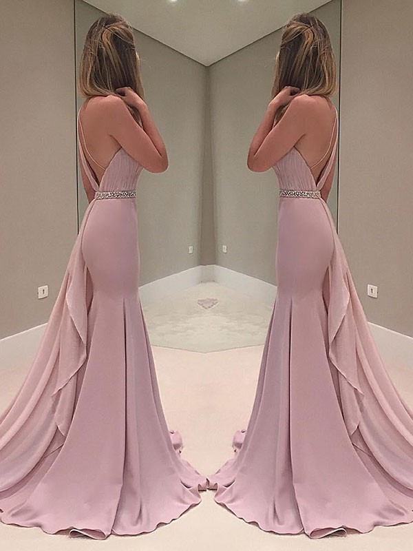Mermaid Sleeveless One-Shoulder Sweep/Brush Train Ruffles Chiffon Dresses