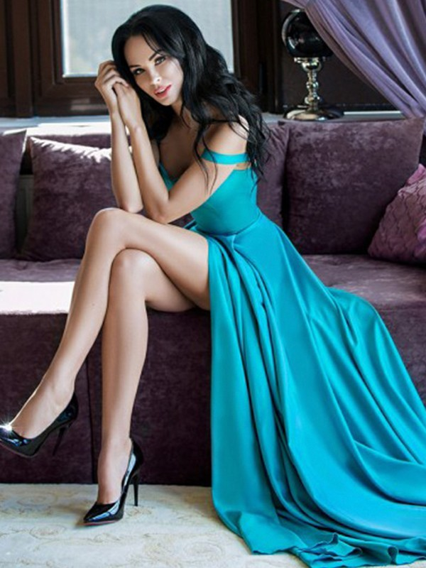 A-Line Sleeveless Straps Sweep/Brush Train Elastic Woven Satin Dresses With Ruffles