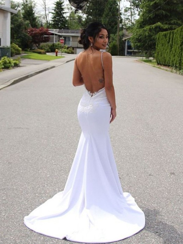 Mermaid Spaghetti Straps Sleeveless Sweep/Brush Train Lace Spandex Wedding Dresses