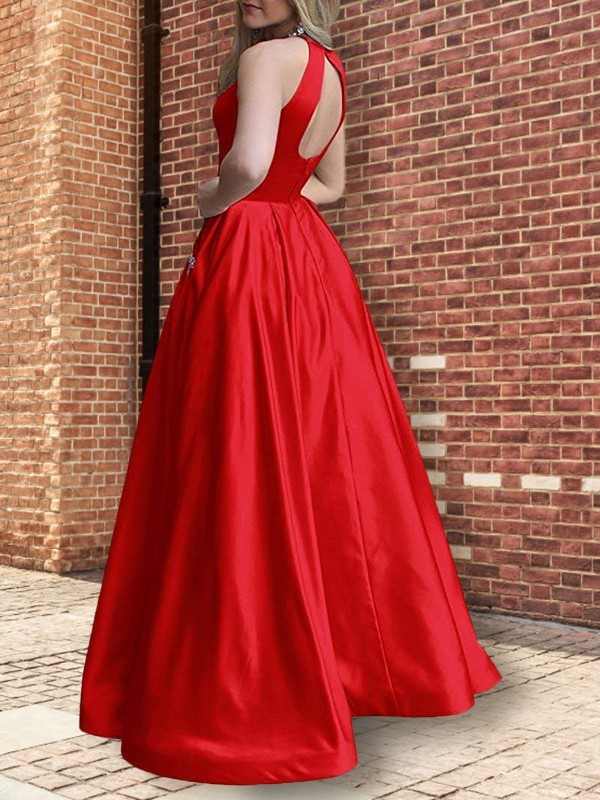 A-Line Halter Sleeveless Floor-Length Beading Satin Dresses
