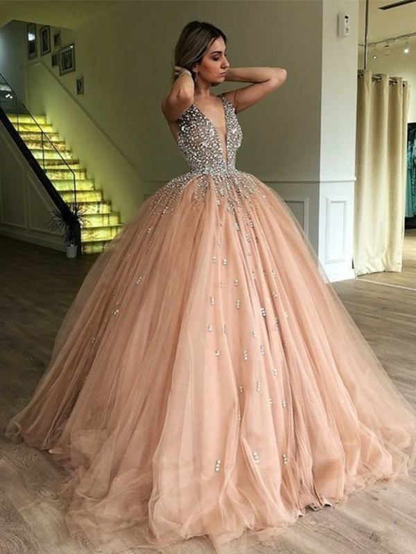 Ball Gown V-neck Sleeveless Floor-Length Tulle Dresses With Beading